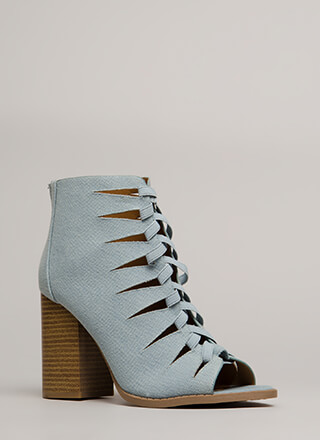 Shooting Daggers Denim Cut-Out Booties