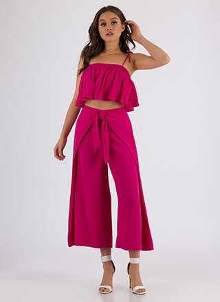 Knot For You Flared Top And Pant Set
