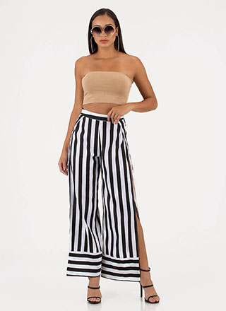 Stripe Force Double Slit Palazzo Pants