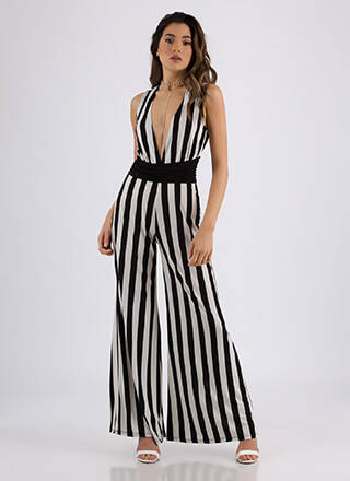 Big Plunge Striped Palazzo Jumpsuit