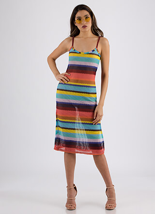 Candy-Coated Striped Double Slit Dress