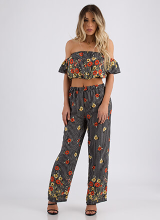 Falling Flowers Striped Top And Pant Set