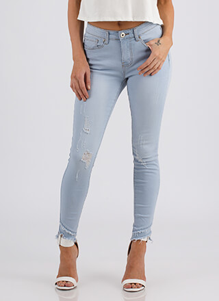 Ankle Biters Fringed Distressed Jeans