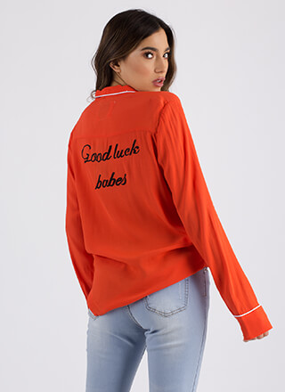 Good Luck Babes Embroidered Blouse