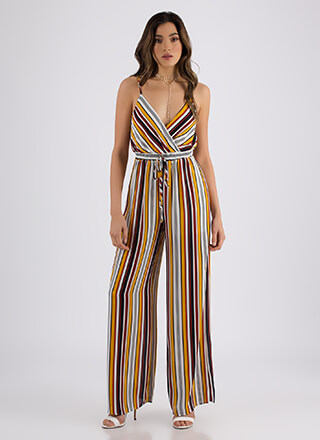 Down The Line Striped Palazzo Jumpsuit