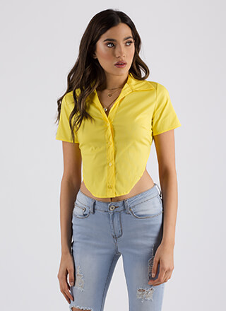 Highs And Lows Tie-Back Button-Up Top