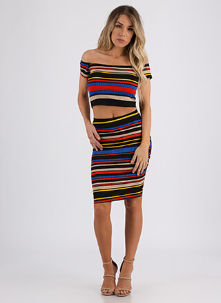 Inside The Lines Striped Two-Piece Dress