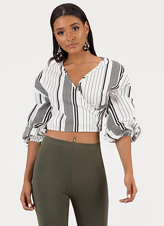 Guide Lines Striped Wrapped Crop Top