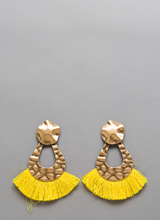 Hammer Time Cut-Out Fringe Earrings