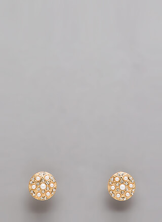 Art Deco Jeweled Faux Pearl Earrings