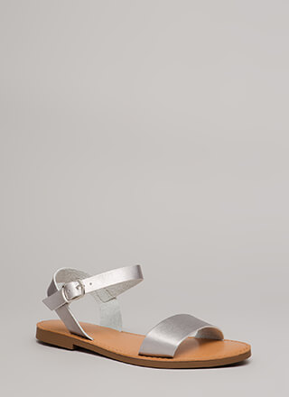 Walk In The Park Shiny Strappy Sandals