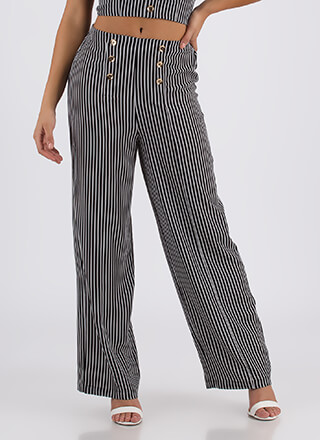 Hot Button Issue Striped Wide-Leg Pants