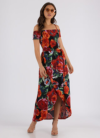 Flower Blossom Cold-Shoulder Maxi Dress