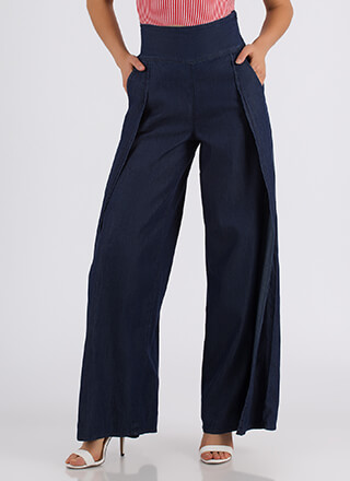 Even Split Denim Palazzo Pants