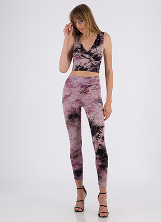 New Ink Tie-Dye Top And Legging Set