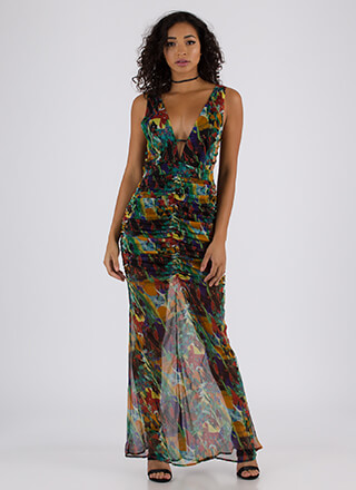 Sheer Masterpiece Strappy Ruched Maxi