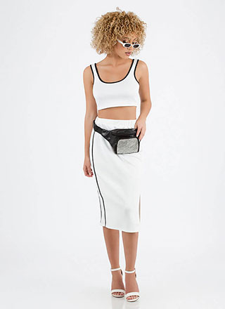 Sporty Luxe Striped Top And Skirt Set