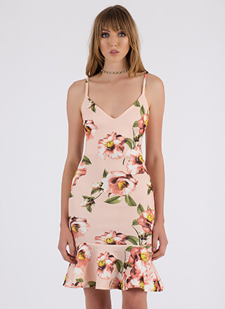 Flower Outage Ruffle Hem Midi Dress