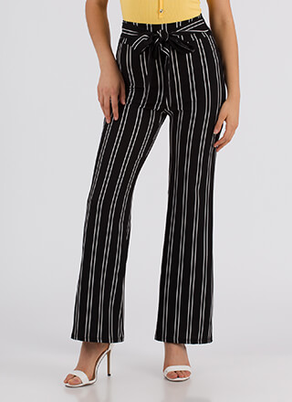 Keeping In Line Tied Pinstriped Pants