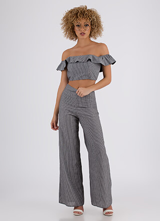 Match Point Ruffled Top And Pant Set