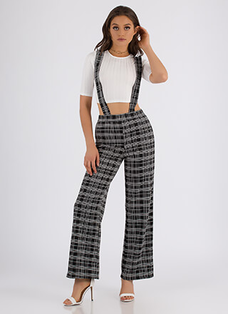 You're Suspendered Plaid Two-Piece Set