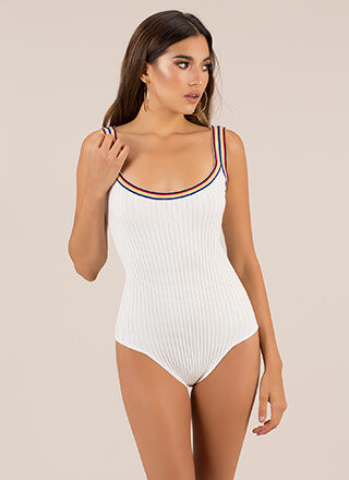 Bring In A Ringer Rainbow Trim Bodysuit