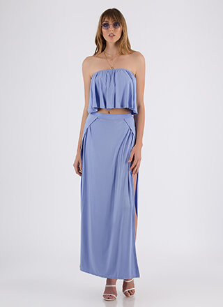 Sunday Slits Strapless Top And Skirt Set