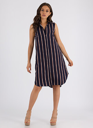 Staying Striped Sleeveless Shirt Dress