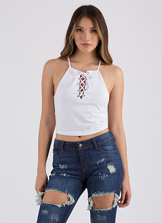One Short Day Lace-Up Racerback Tank