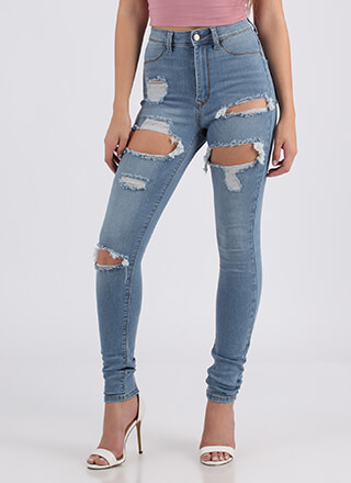 Hole Again Destroyed High-Waisted Jeans