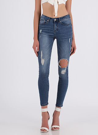 Hit A Snag Distressed Skinny Jeans