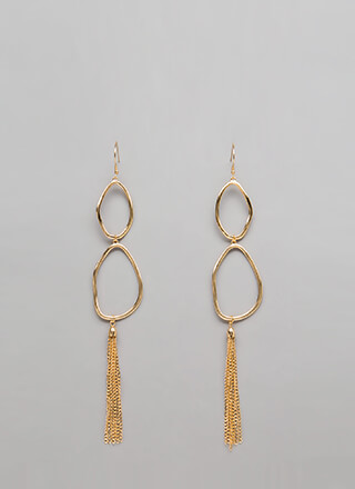 Eggs-Cited Chain Tassel Earrings