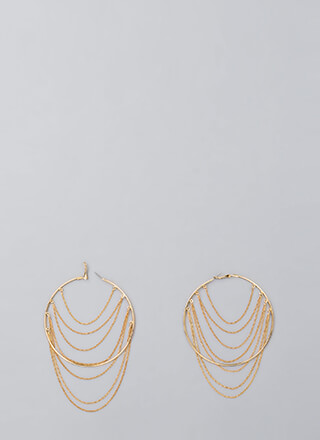 Magnificent Seven Draped Chain Hoops
