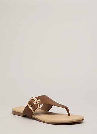 Luxury Cruise Buckled Thong Sandals