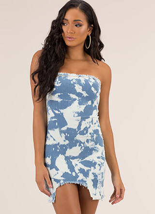 Cloud Nine Distressed Denim Tube Dress