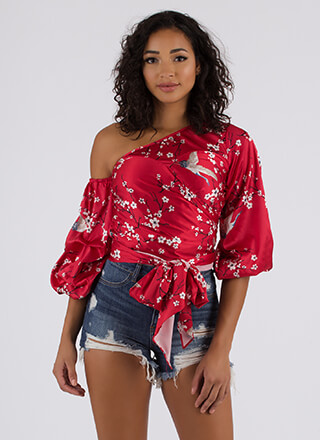 Cherry Blossom Season Satin Floral Top