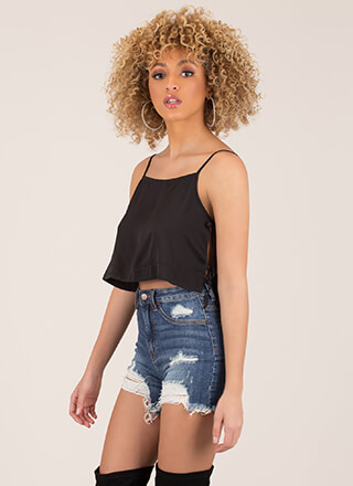 Side Chick Cropped Cami Tank Top