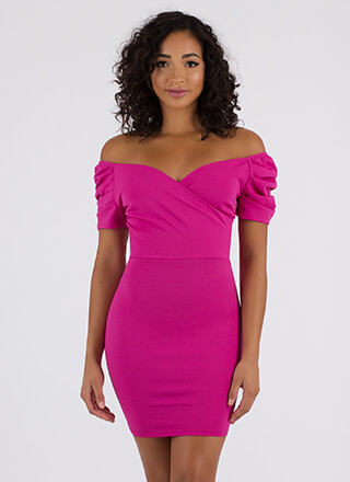 Party On Off-Shoulder Puffy Sleeve Dress