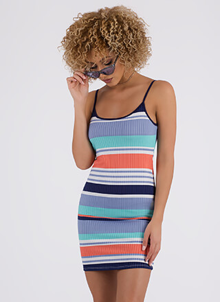 Easter Egg Striped Rib Knit Minidress