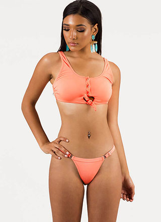 Detail-Oriented Tie-Front Bikini Set