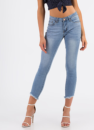 Cut-Off From It All Cropped Skinny Jeans