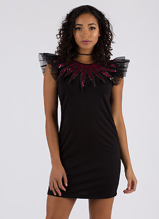 Burst Into Flame Sequined Tulle Dress