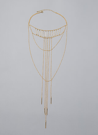 High Bar Draped Chain Drop Necklace