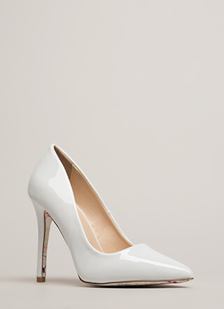 Put On A Show Pointy Faux Patent Heels