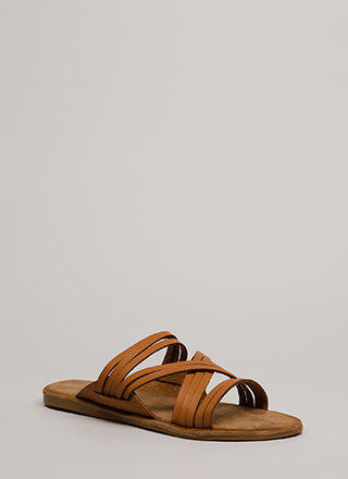 Make Me Strappy Faux Leather Sandals