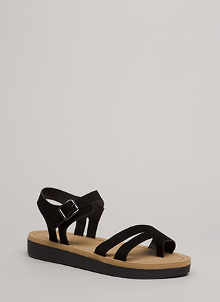 Walk Over Strappy Faux Nubuck Sandals