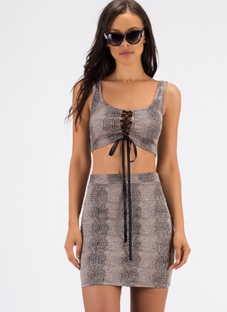 The Scales Lace-Up Top And Skirt Set