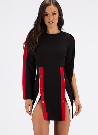 Snap To Attention Buttoned Minidress