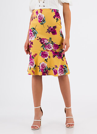 Big Bloom Trumpeted Floral Midi Skirt