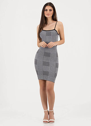 Check You Out Plaid Knit Midi Dress